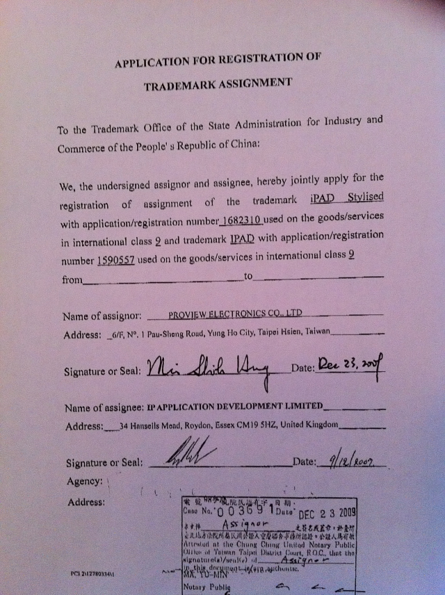A signed and notarized form of trademark assignment for the iPad.
