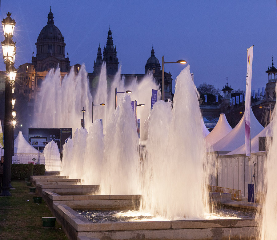 The Fira de Barcelona, where Mobile World Congress takes place this year but not next, has an avenue of illuminated fountains.