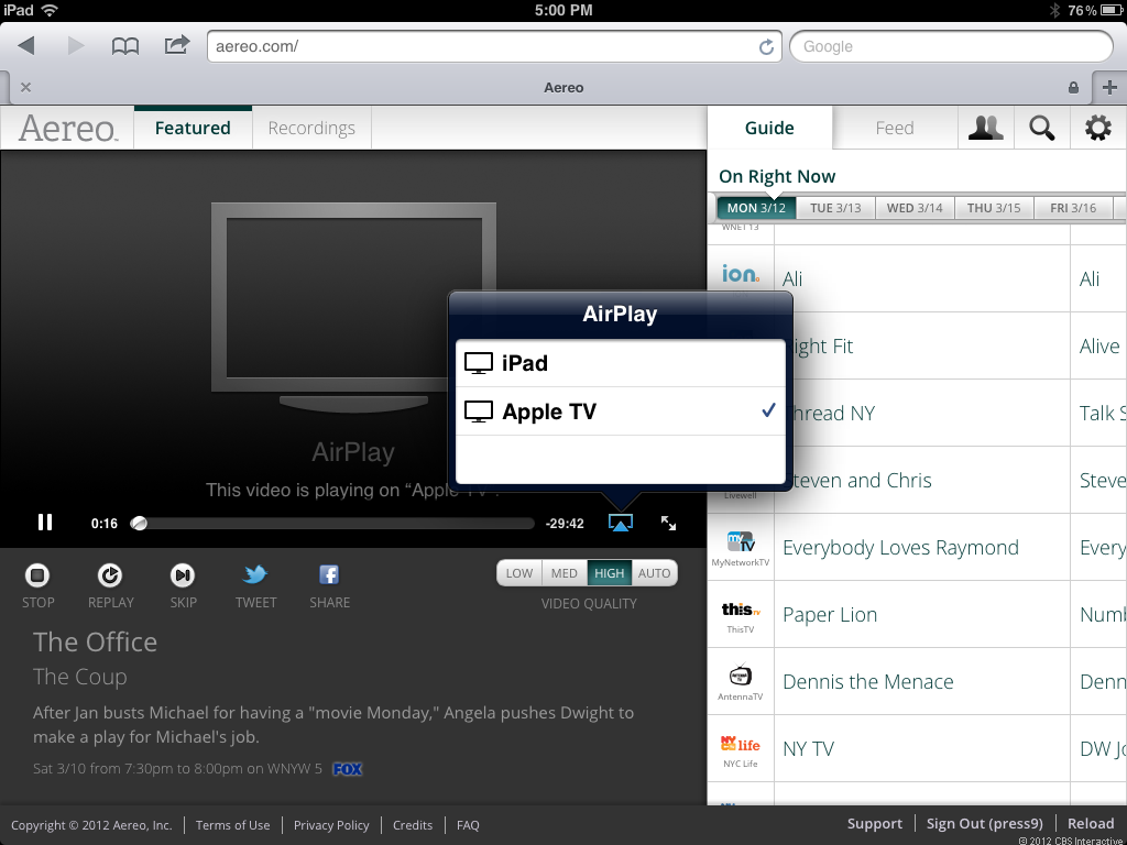 Aereo user interface