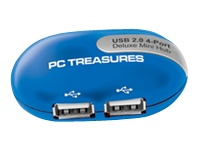 PC Treasures USB 2.0 4-Port Deluxe Mini Hub - USB peripheral sharing switch - 4 ports - desktop