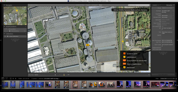 Adobe's Lightroom 4 uses Google Maps for its geotagging interface, as does Apple's competing Aperture.
