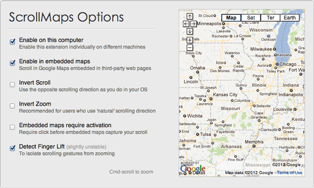 "ScrollMaps is a Chrome and Safari extension whose ""detect finger lift"" option cleaned up some of my Google Maps problems."