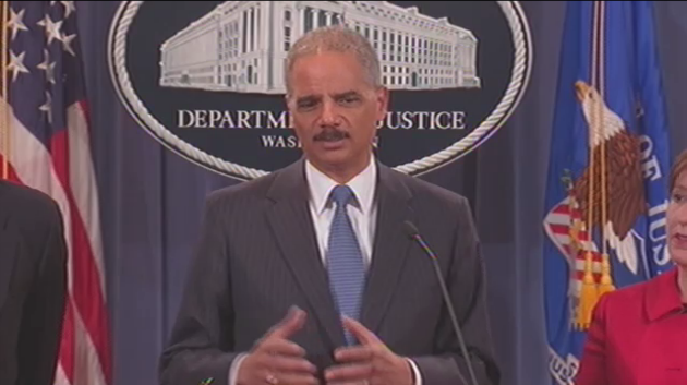 "Attorney General Eric Holder says his department's lawsuit is ""essential to preserving a competitive marketplace"" in e-books."