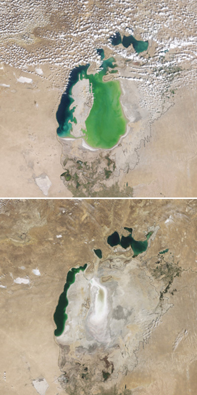 Aral Sea shrinks in Central Asia