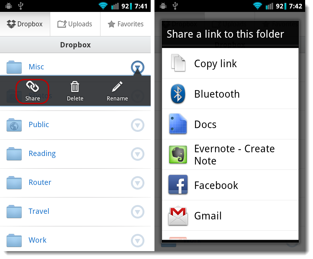 Get Dropbox share link via Android