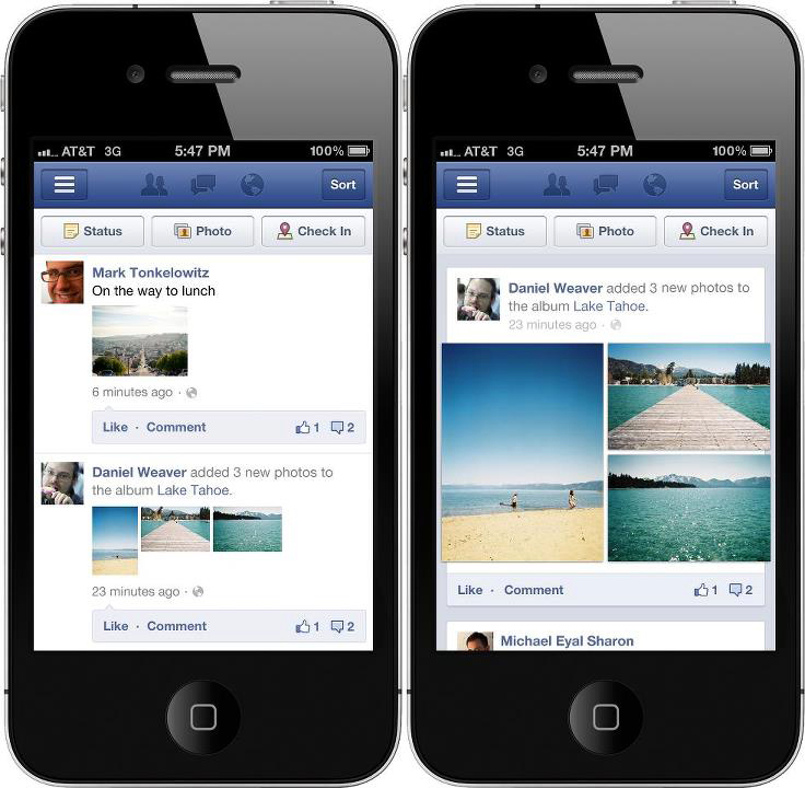 Facebook on iPhone.