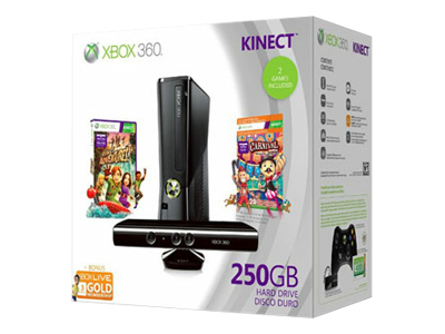 Microsoft Xbox 360 S Kinect (250GB) Holiday Bundle (Carnival Games)