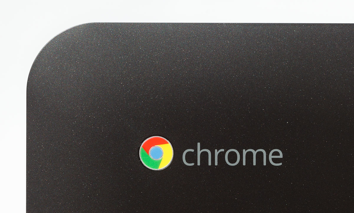 The Chromebox is an artfully crafted sealed box that sports Google's Chrome logo.