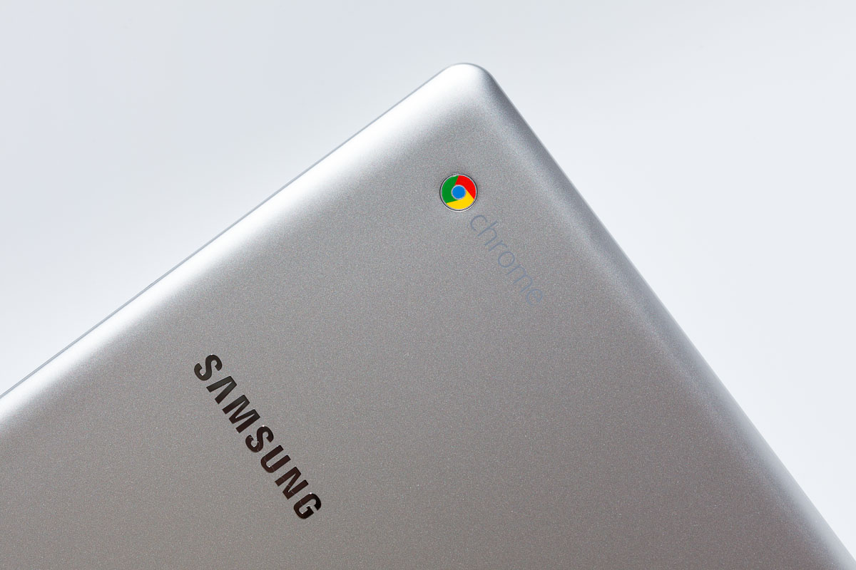 The new Series 5 Chromebook sports Samsung and Chrome branding on its curved top.