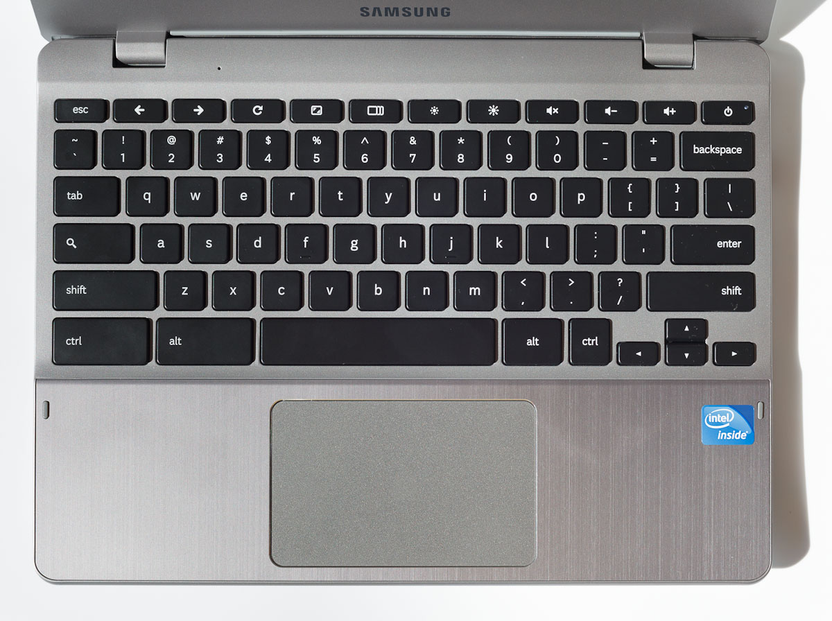 MacBook users will find the Samsung Chromebook's keyboard familiar, including the omission of a right-delete key. A spacious trackpad also follows the Mac's useful styling; two-finger tapping is the same as right clicking, and the trackpad depresses like