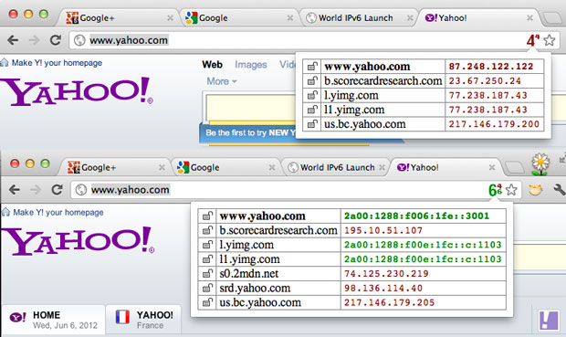 Yahoo.com yesterday was reachable only with IPv4. But when the company made its IPv6 servers discoverable over IPv6, they started delivering data. This image shows the IP addresses of servers used to supply information for the Web page; green means IPv6 a