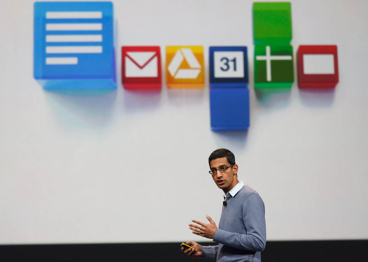Sundar Pichai, Google's senior vice president in charge of Chrome and Apps, speaking at Google I/O.