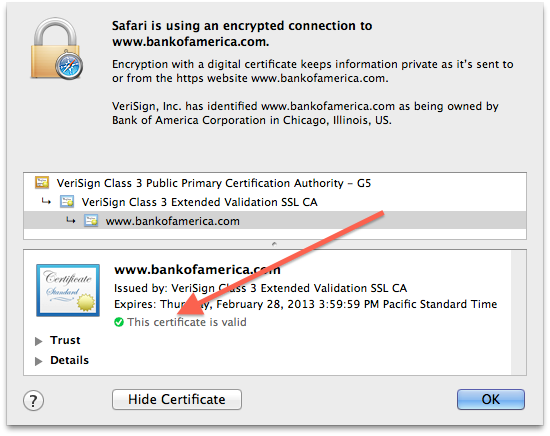 Safari's certificate information window
