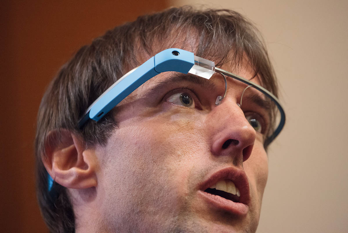 Steve Lee, a member of Google's Project Glass, wearing the computerized headwear at Google I/O.