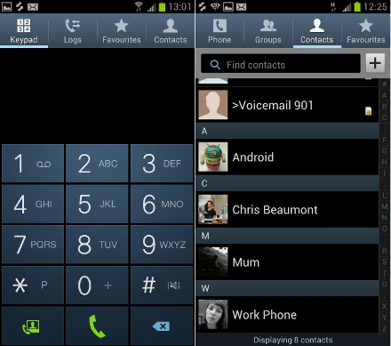 Samsung Galaxy S3 dialling contacts