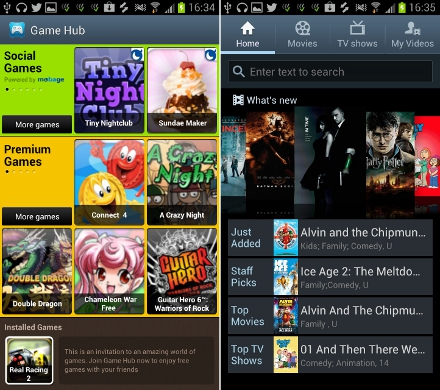 Samsung Galaxy S3 Games Hub