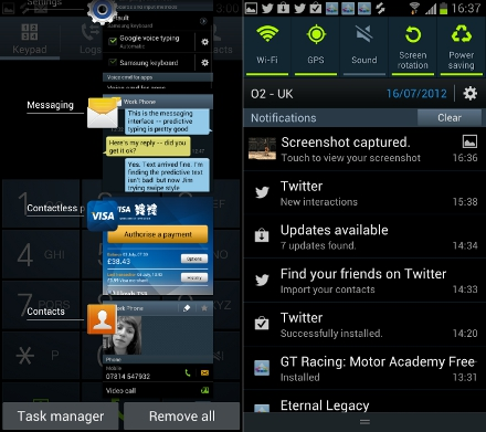 Samsung Galaxy S3 Recent Apps Notifications
