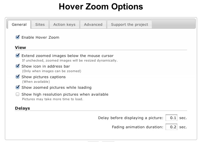 Hover Zoom extension settings