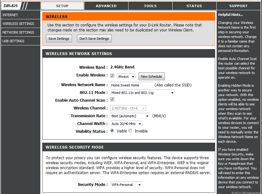 A typical Web interface of a D-Link wireless router that allows users to customize their Wi-Fi network.