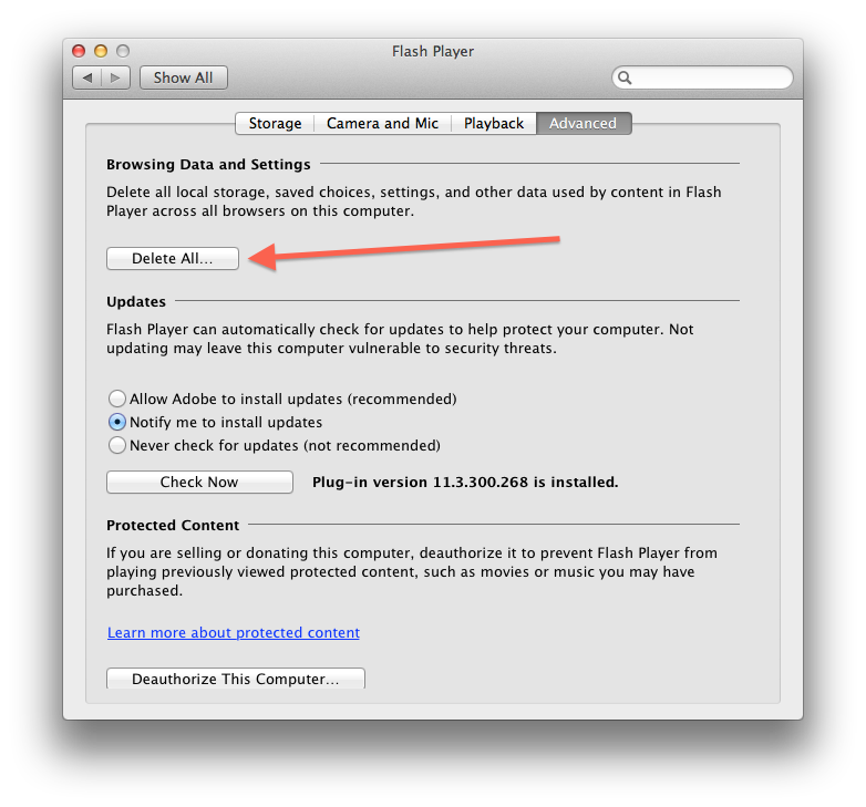 Flash Player system preferences