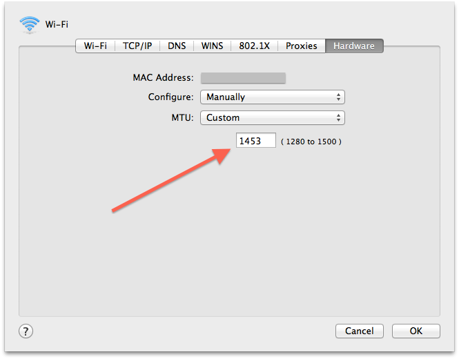 OS X MTU settings