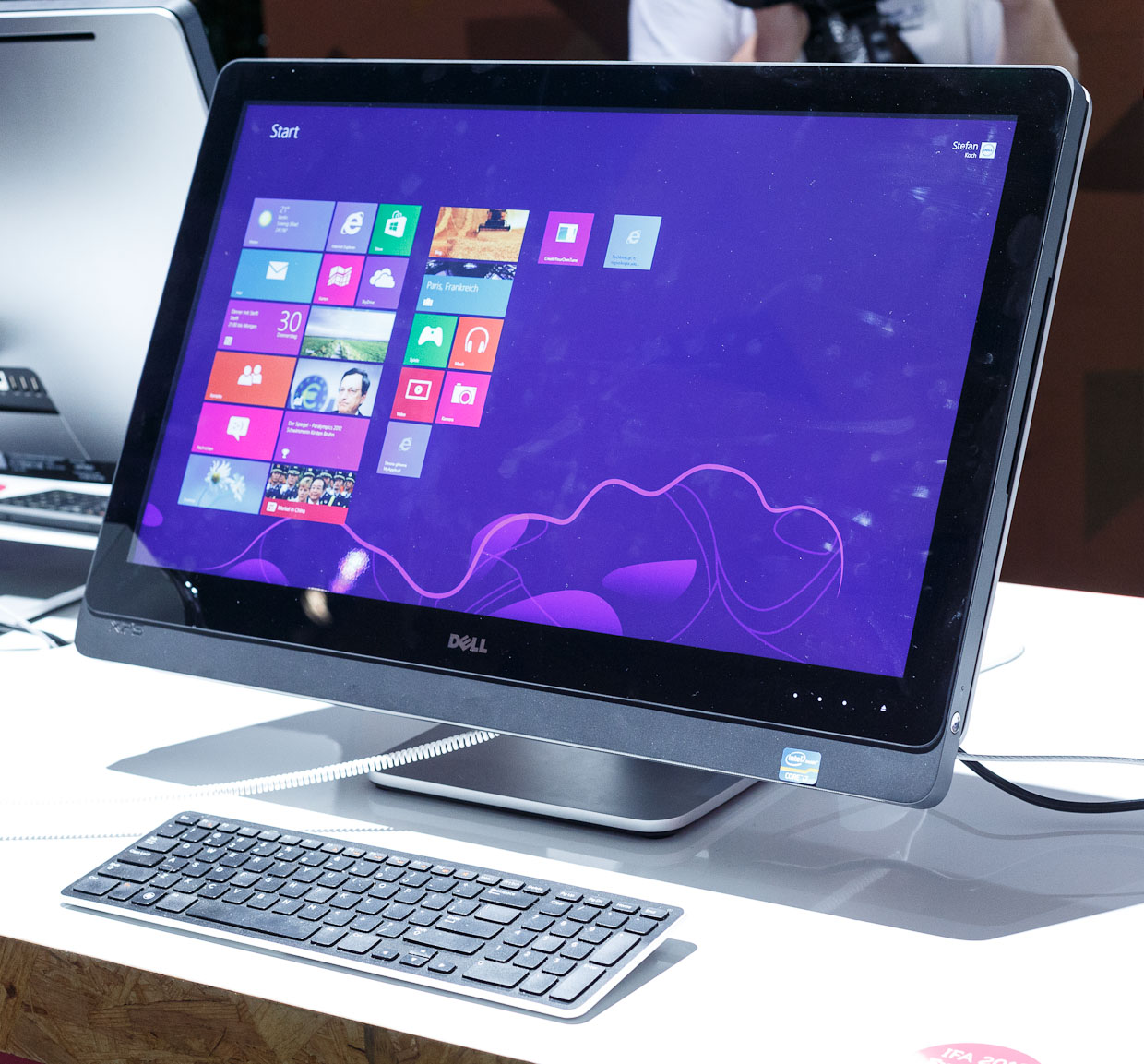 The Dell XPS One 27 touch screen can be used with a conventional keyboard like a normal all-in-one machine, or it can be tilted closer to flat for easier touch-screen operation.
