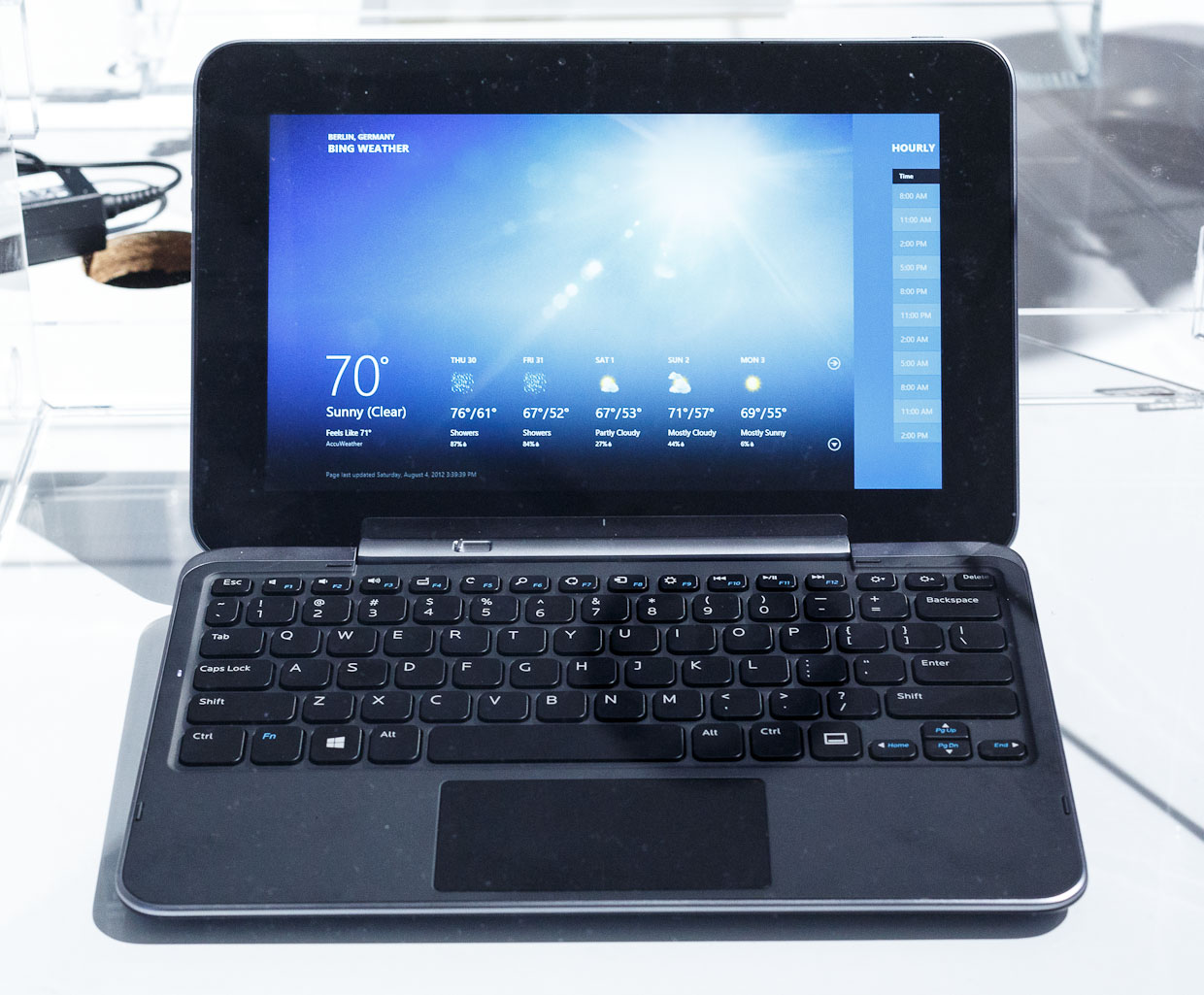 The Dell XPS 10 tablet shown with its keyboard attached.