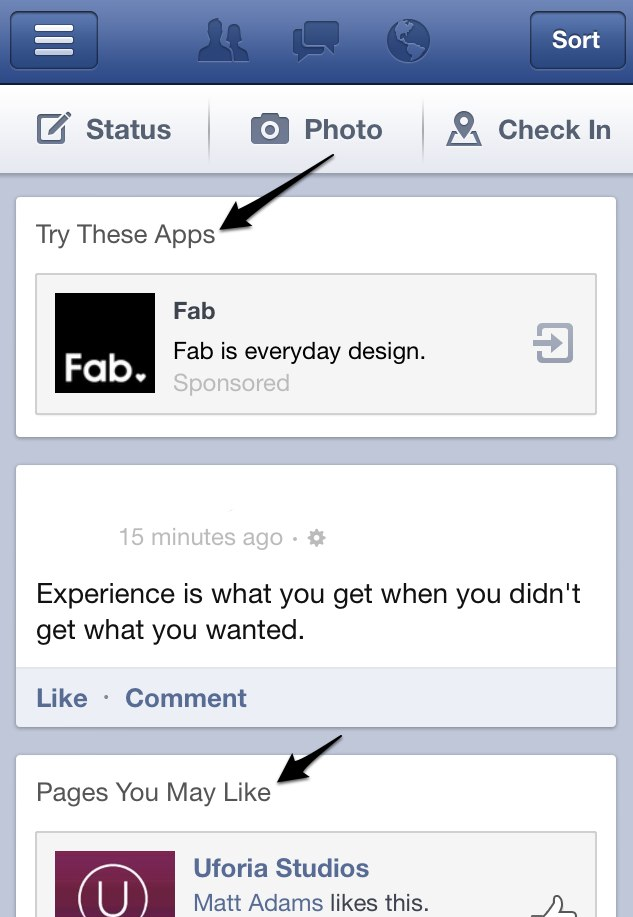 To increase revenue from mobile devices, Facebook has been inserting advertising into the news feed more aggressively.