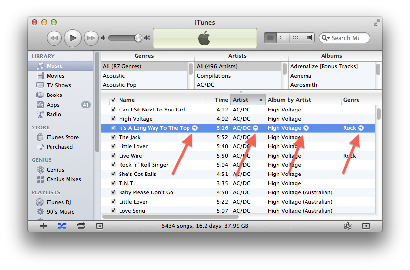 iTunes arrows and ping menu