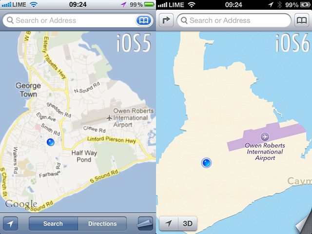 Cayman Islands in iOS 5, iOS 6