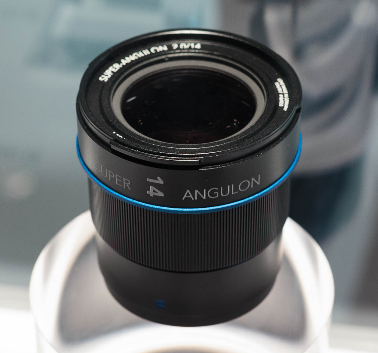 Schneider Kreuznach's prototype Super-Angulon 14 mm/2.0 wide-angle lens for Micro Four Thirds cameras.