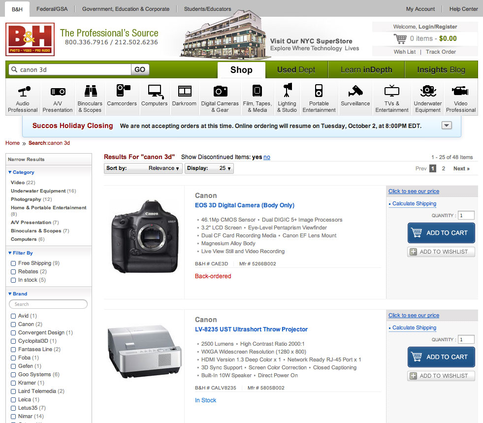 The full screenshot showing the Canon EOS 3D search result.