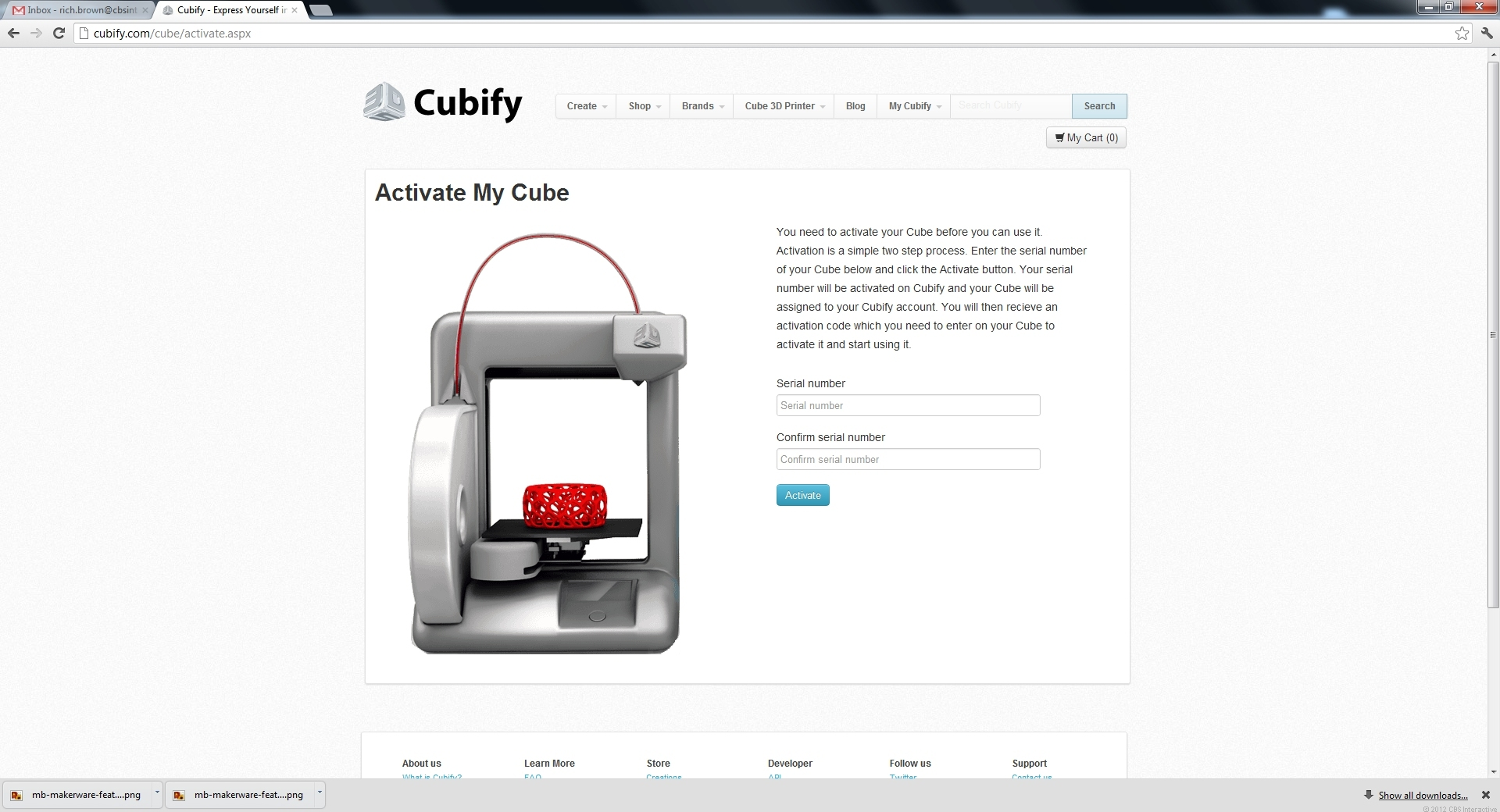 The Cubify activation screen.