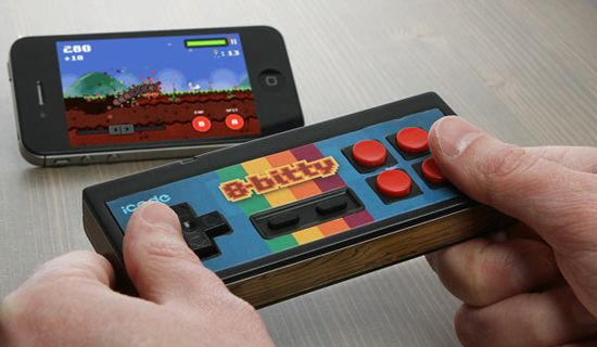 The 8-Bitty controller works with iPhones, iPads, and, to a lesser degree, Android devices.