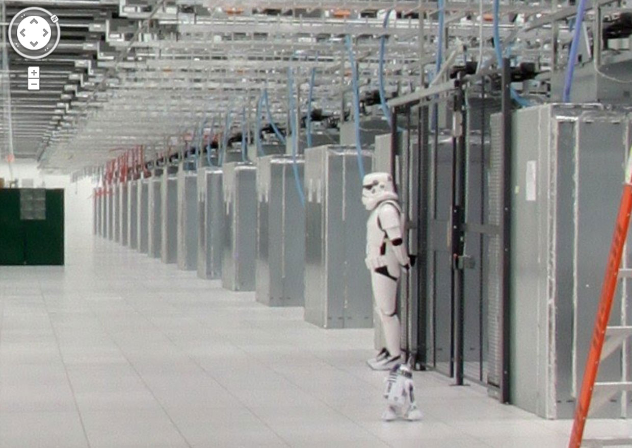 Google's Street View tour of a North Carolina data center includes this humorous view of including a stormtrooper and R2-D2 droid from Star Wars.