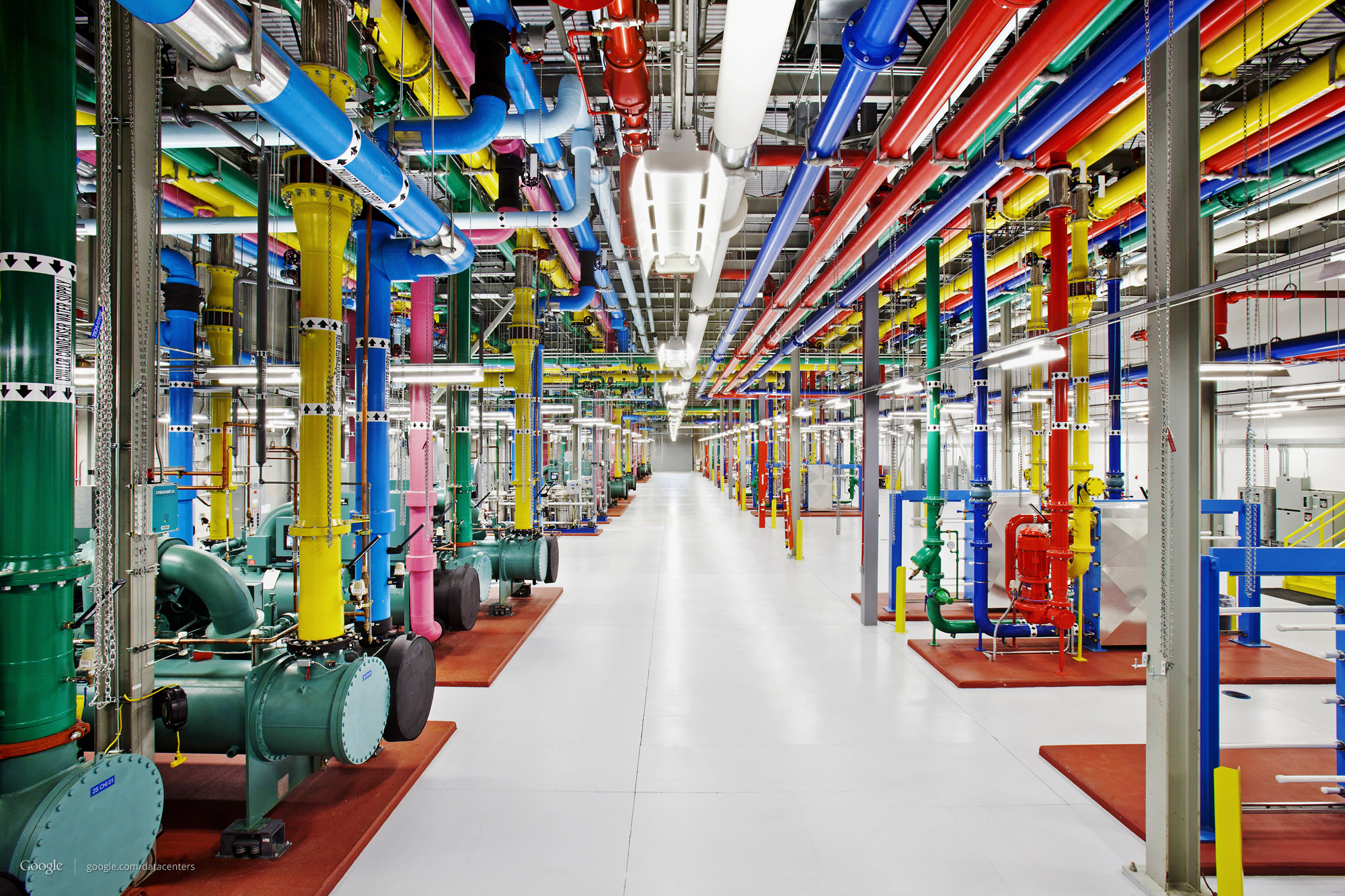 Google's data centers use color-coded pipes to indicate what they're used for. Pink means water headed for outside cooling towers.