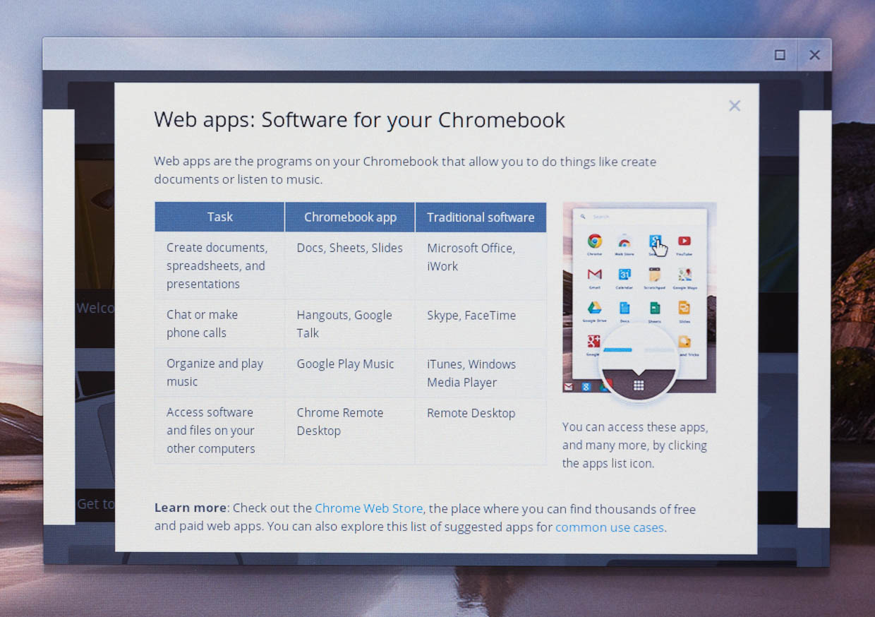 Chrome OS gives you tips on how to swap out iTunes, Skype, and Microsoft Office with Web-based alternatives -- from Google, of course.