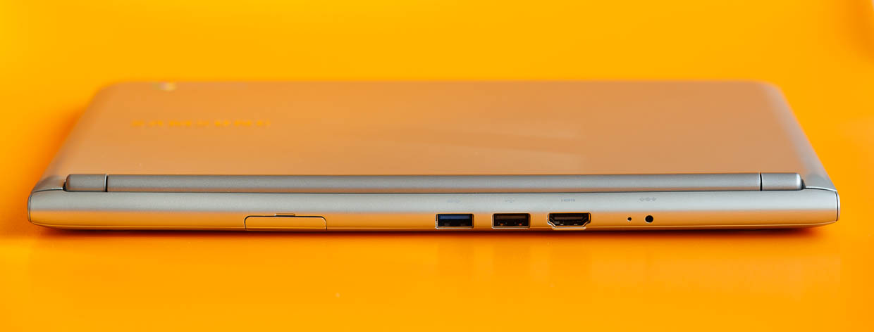 The back of the Samsung Chromebook is where the ports are located: USB 2.0, USB 3.0, and HDMI 1.4. There's also a SIM card slot and power plug.