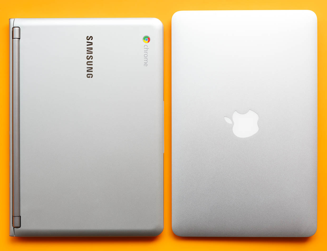 An 11-inch MacBook Air is wider than the Samsung Chromebook, but it's not as deep or as thick.