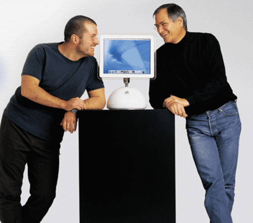 Apple designer Jonathan Ive and then-CEO Steve Jobs in 2002.
