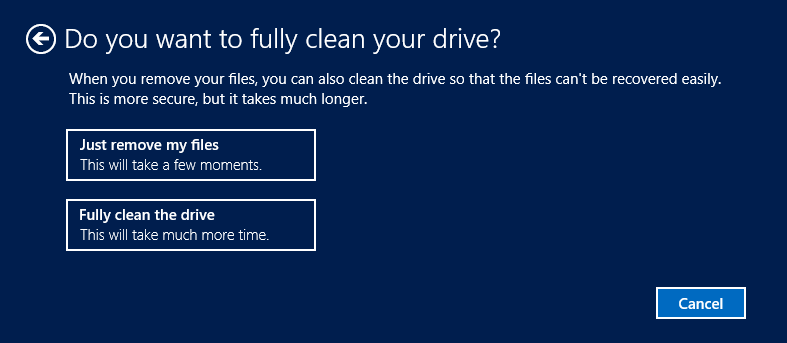 Select remove files or clean drive