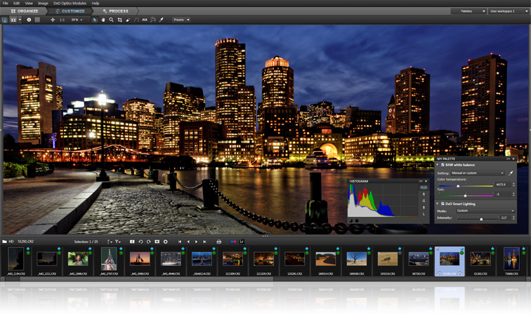 DxO Optics Pro 8 lets people edit photos with a filmstrip across the bottom and adjustment panels floating on top.
