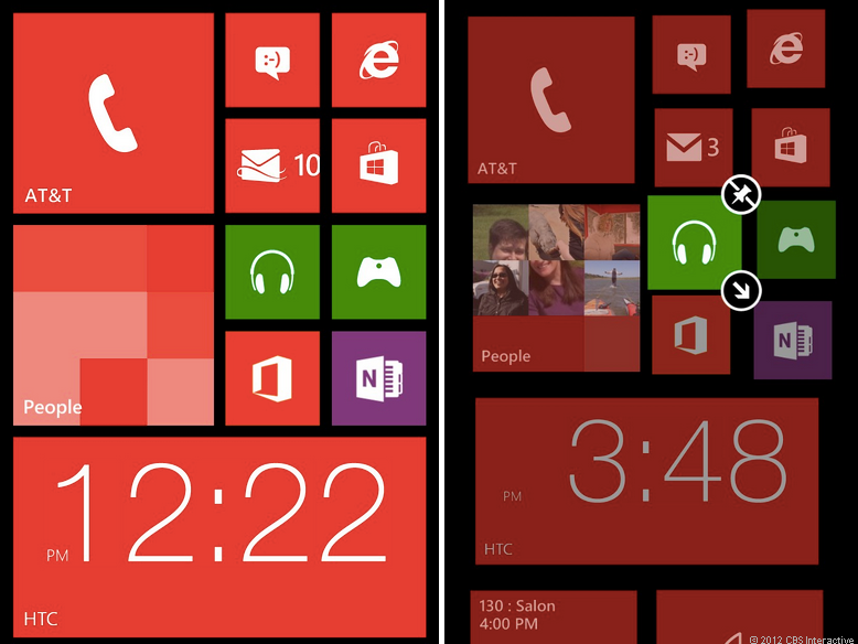 Windows Phone 8 Start screen, resizable live tiles