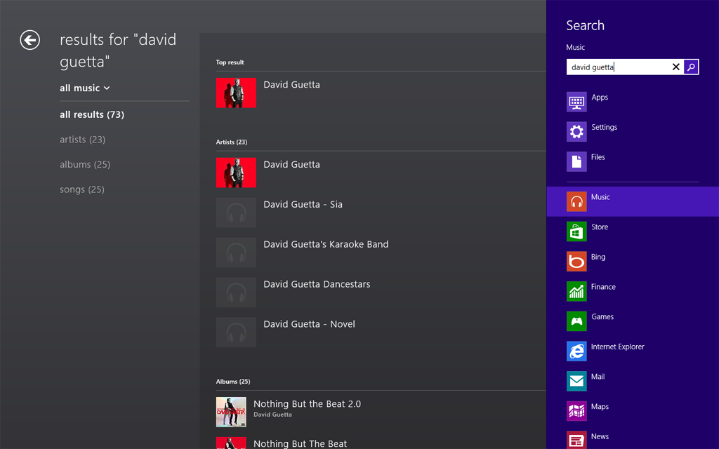 Xbox Music search in Windows 8