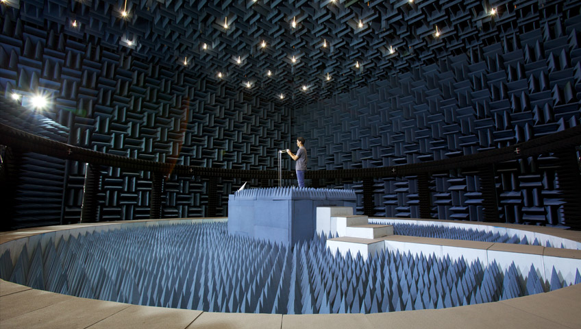 One of Apple's 17 different anechoic chambers, part of a $100 million research and development spend made years ago.