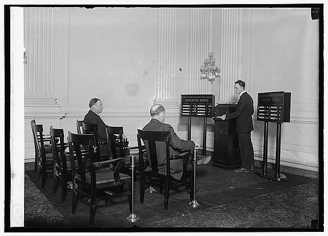 Marshall Thompson demonstrating voting machine