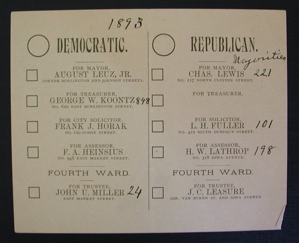 Iowa City election 1893