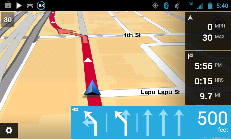 TomTom app for Android map