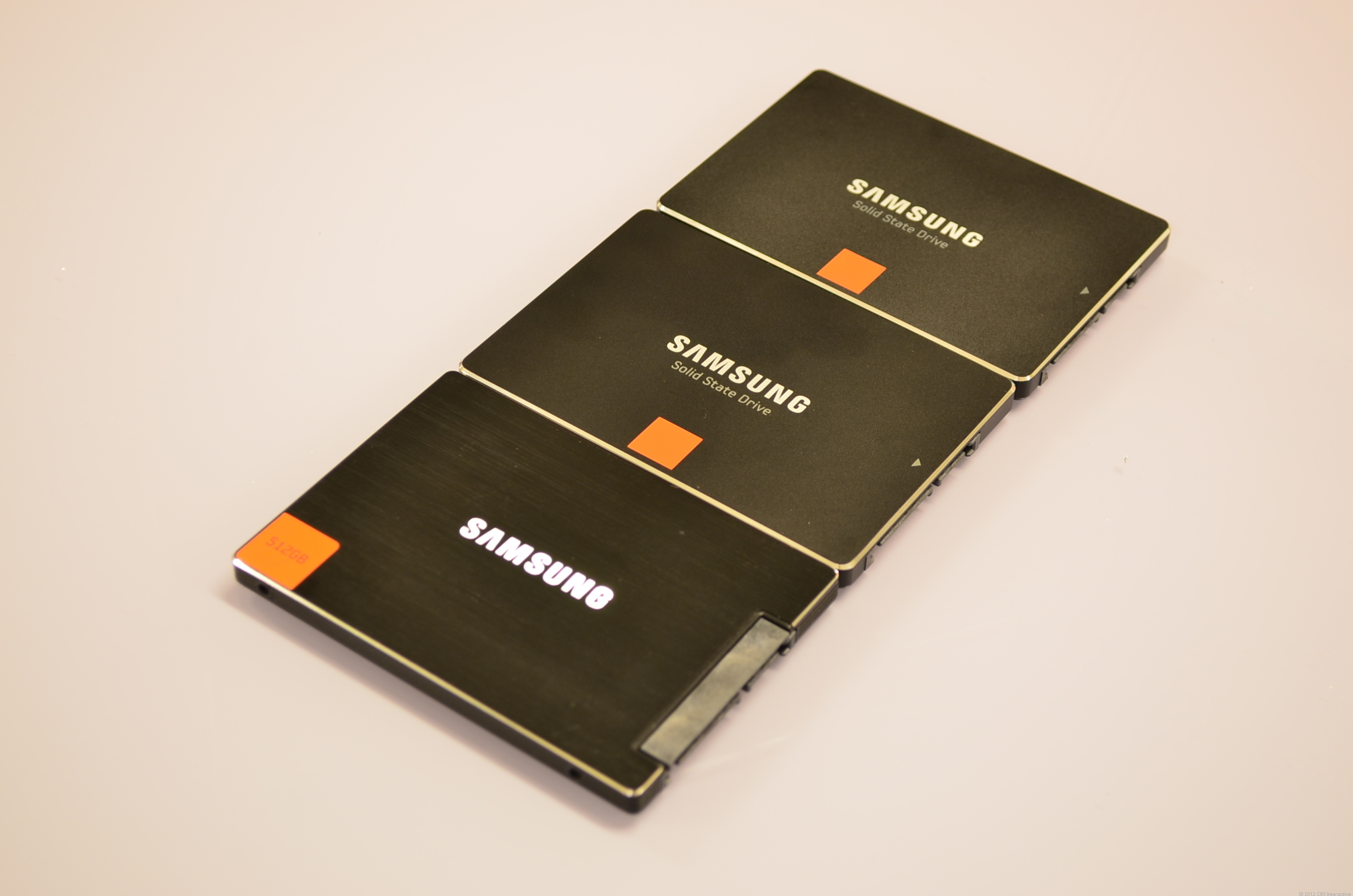 You can hardly tell Samsung's SSDs apart. From top to bottom are the 840 series, the 840 Pro, and the 830 series.