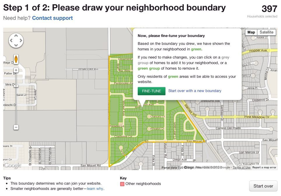 Step 1 in creating a Nextdoor network: choose the neighborhood boundaries